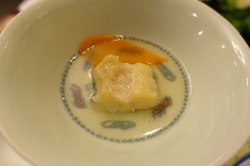 steamed local river fish with chicken stock
