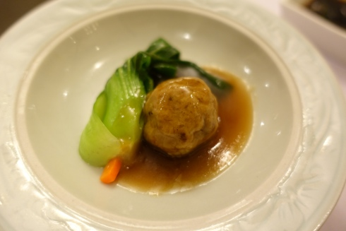lion's head pork meatballs with water chestnut, matsutake mushrooms and greens